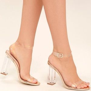 CLEAR TO SEE ROSE GOLD LUCITE HEELS- TRANSPARENT